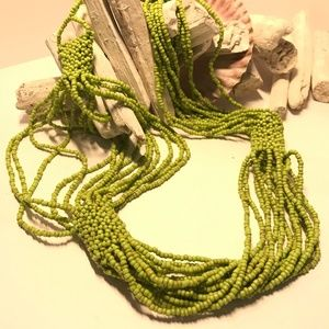AWESOME Green Multi-Strand Beaded Necklace